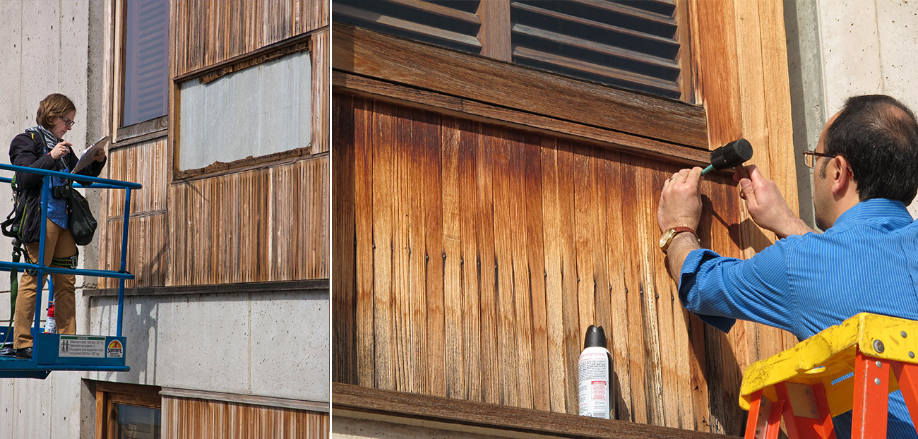 Left: A woman on a cherry picker with a clipboard examines wooden panels of a building. Right: A man on a ladder performs work on the wooden panels.