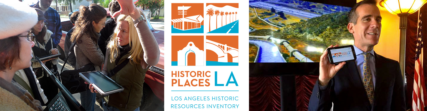 Three images from a Los Angeles project to document historic structures: a group of volunteers, the project logo, and the mayor showing the website on his phone