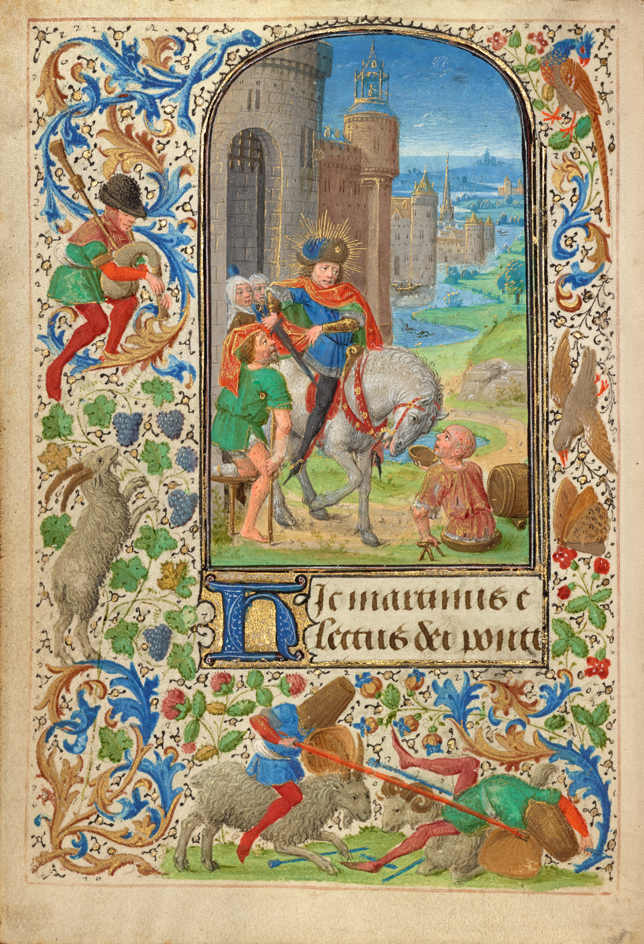 A lushly illustrated page of an illuminated manuscript. In the center a man on a horse with a sword and gold rays around his head is surrounded by beggars with bandages, red spots, and missing limbs.