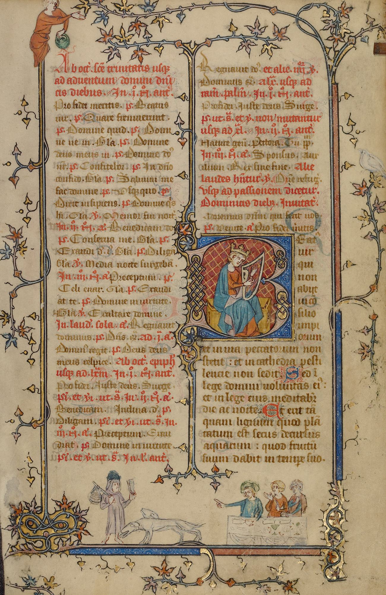A page of an illuminated manuscript with a large illustrated B in the middle of the page and a scene below the text with a traveller, a dog and three men seated at a table.