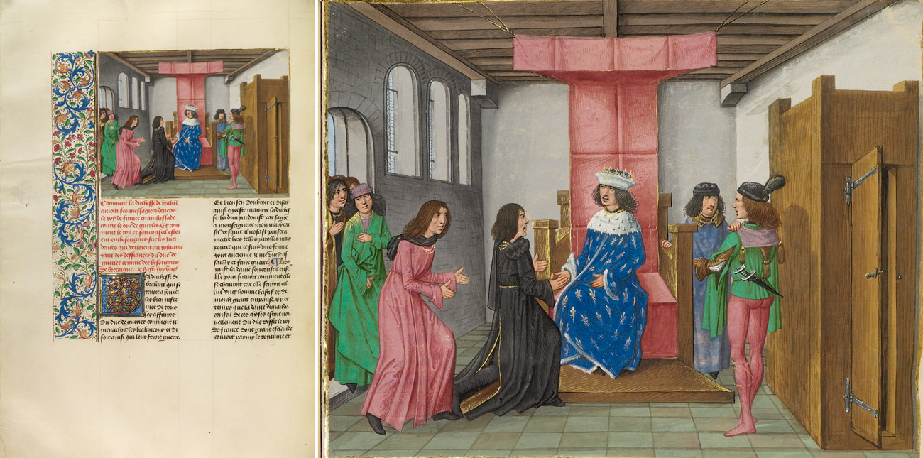 A full page of an illuminated manuscript on the left and a detail on the right showing a king on a throne with attendants and supplicants.