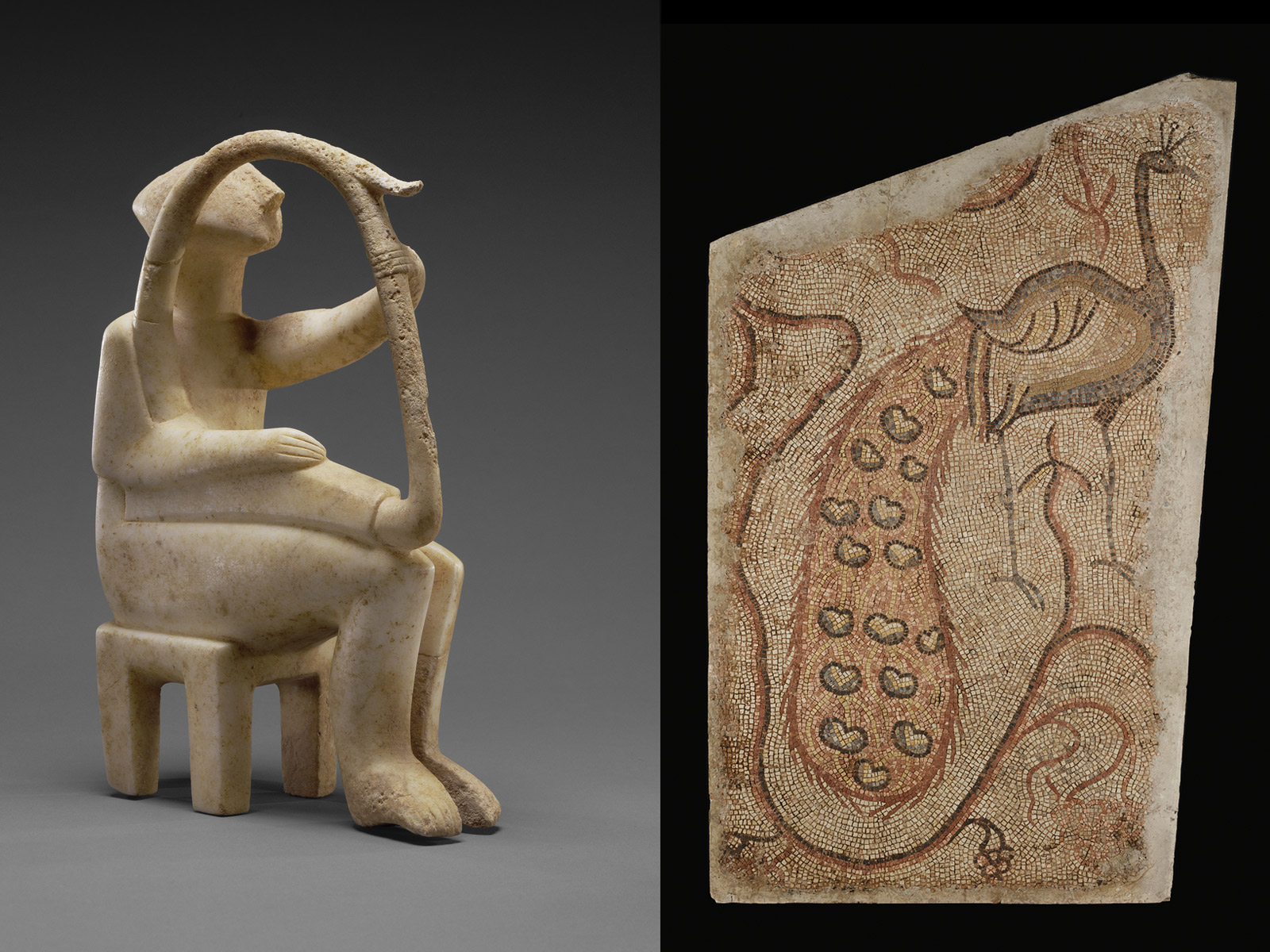 An ancient white-marble figurine of a seated harp player at left, and a stone mosaic of a standing male peacock, right