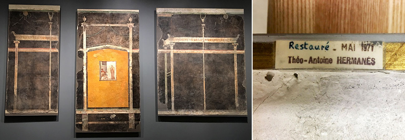 Left, three large fresco panels hanging on a wall. Right, a small label reading Restauré Mai 1971 Théo-Antoine Hermanés