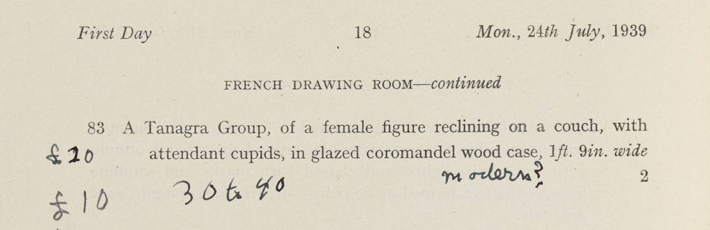 Aged paper with reading in part Mon. 24th July, 1939, French Drawing Room-- continued, with handwritten notes.