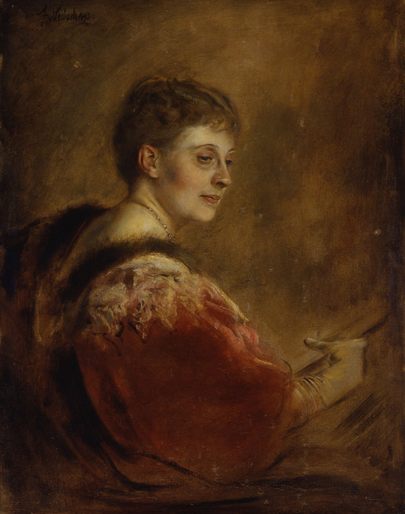 An oil portrait of a woman in a red dress, looking off to her right. The painting has visible brushwork in many shades of brown, beige, and pink