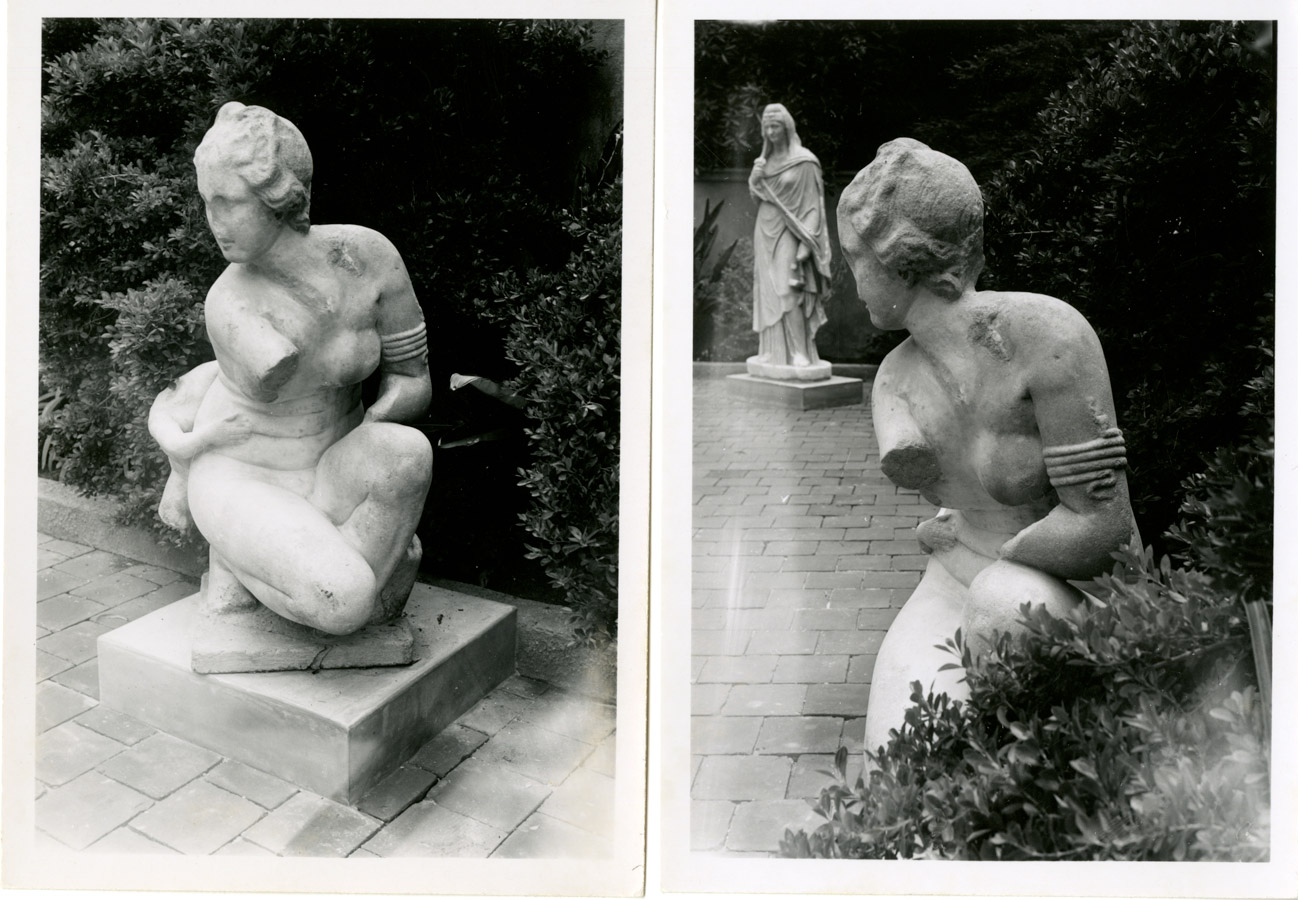Two photos from different angles of a statue in a garden. The statue depicts a crouching women with a missing arm and nose with remnants of another figure.