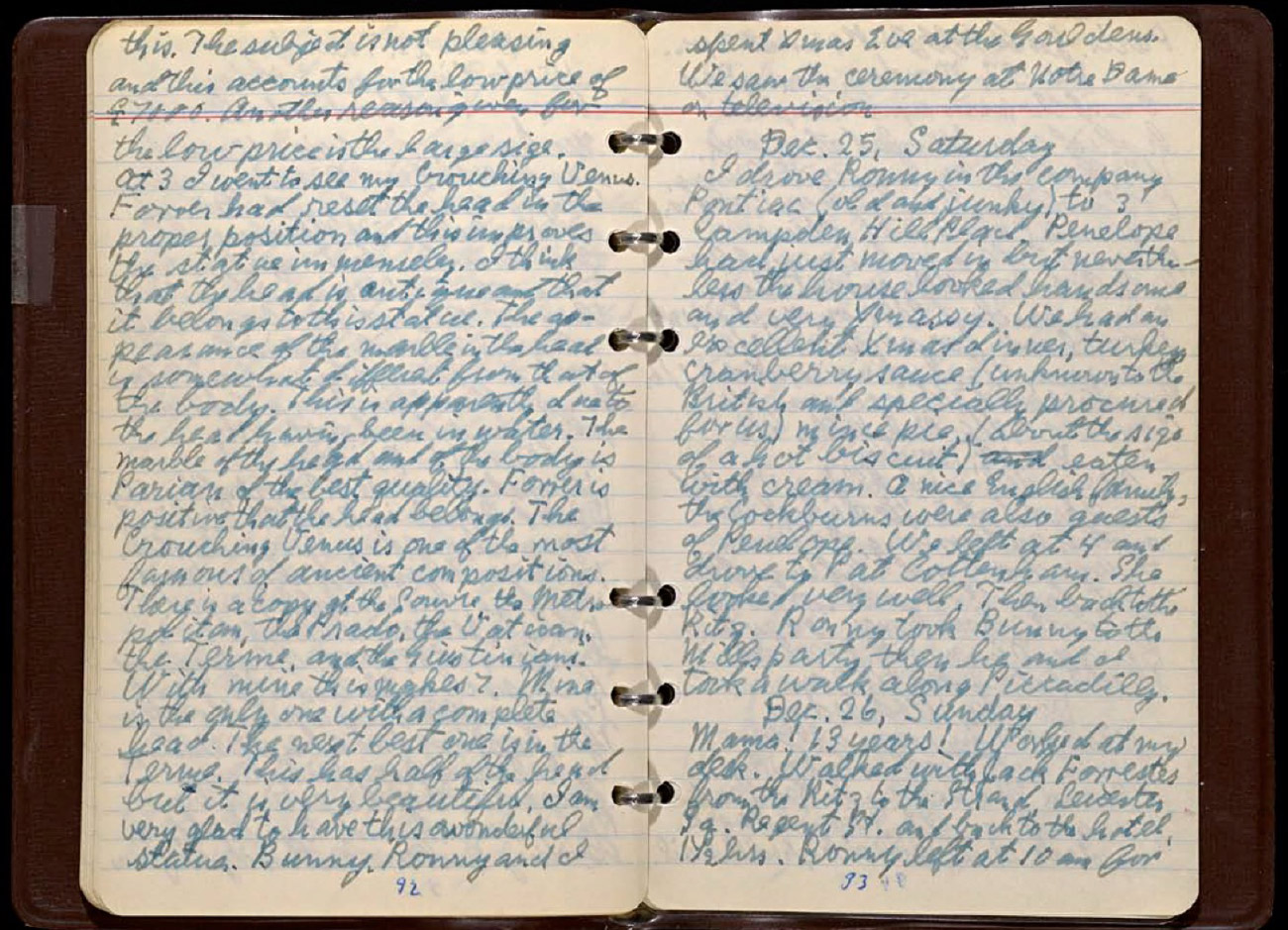 "Open diary covered with handwritten prose including dates ""Dec. 25"" and ""Dec. 26"""