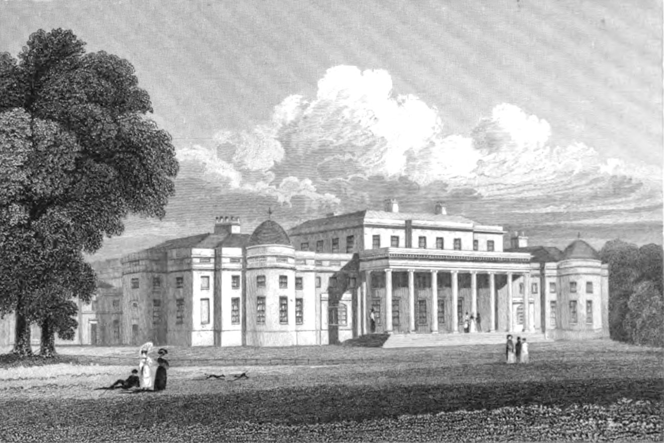 Engraving of a palatial building adorned with domes and columns with well dressed people in 19th century garb strolling the grounds.
