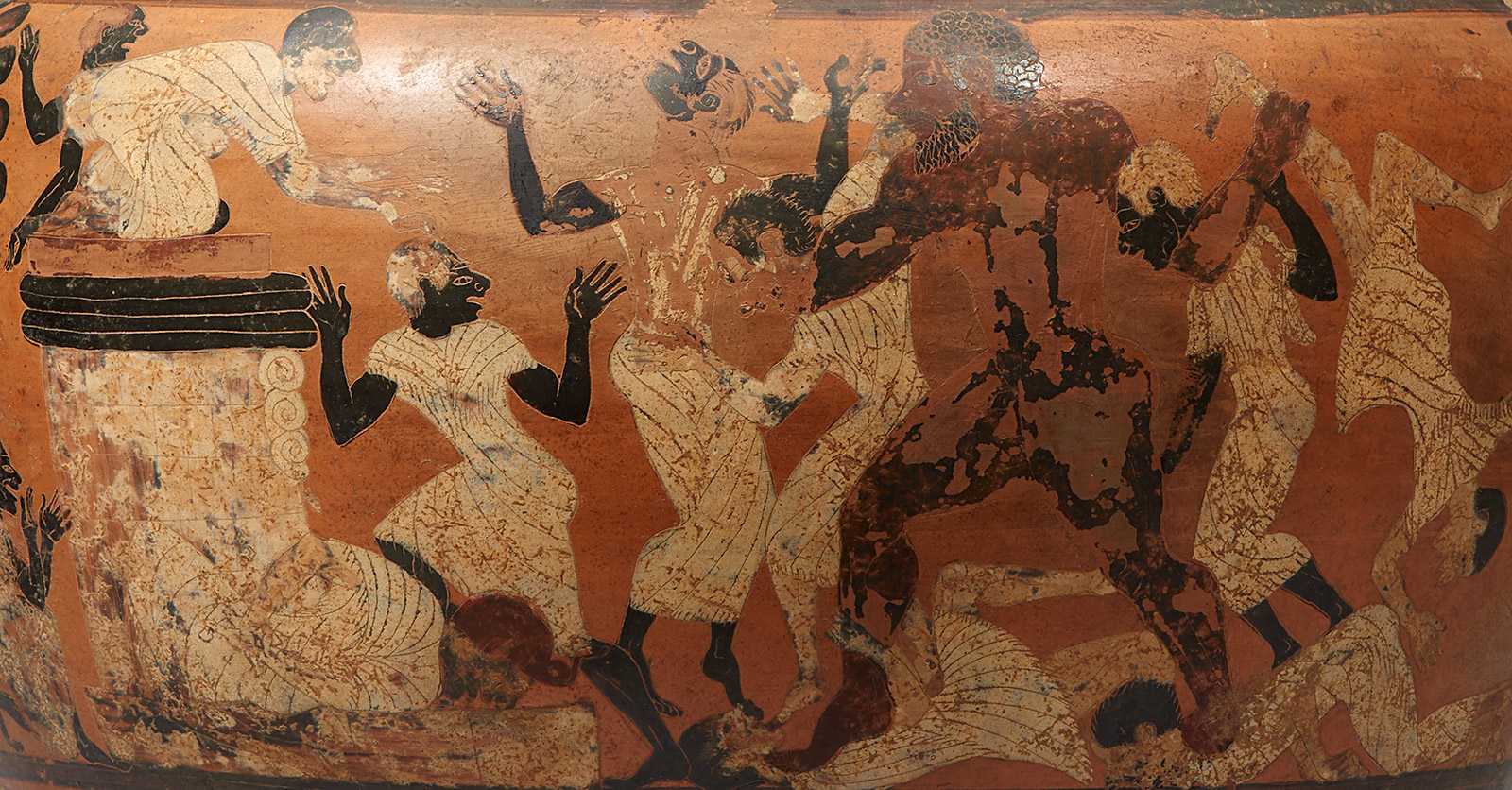 Detail of the figures on an ancient Greek vase showing a powerful male figure painted black