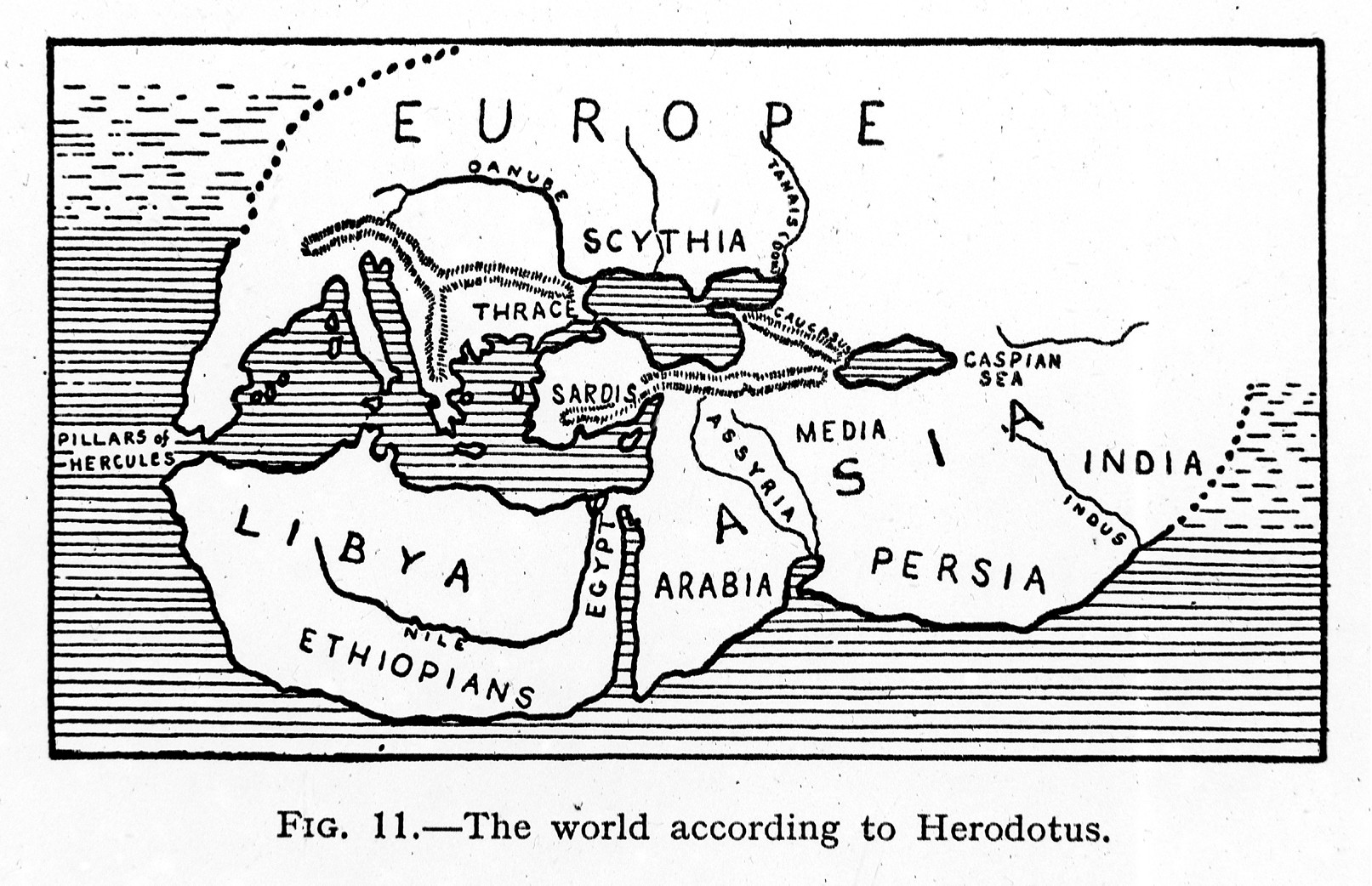 Pen and ink rendering of Europe and north Africa with major regions indicated: Europe, Libya (most of north Africa), and Asia