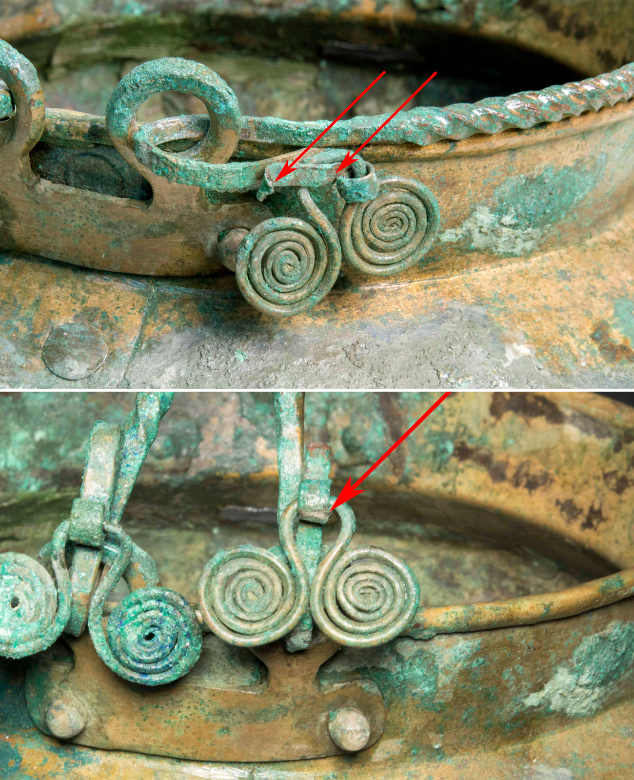 Two images showing aged metal worked into spirals. Arrows point at repairs.