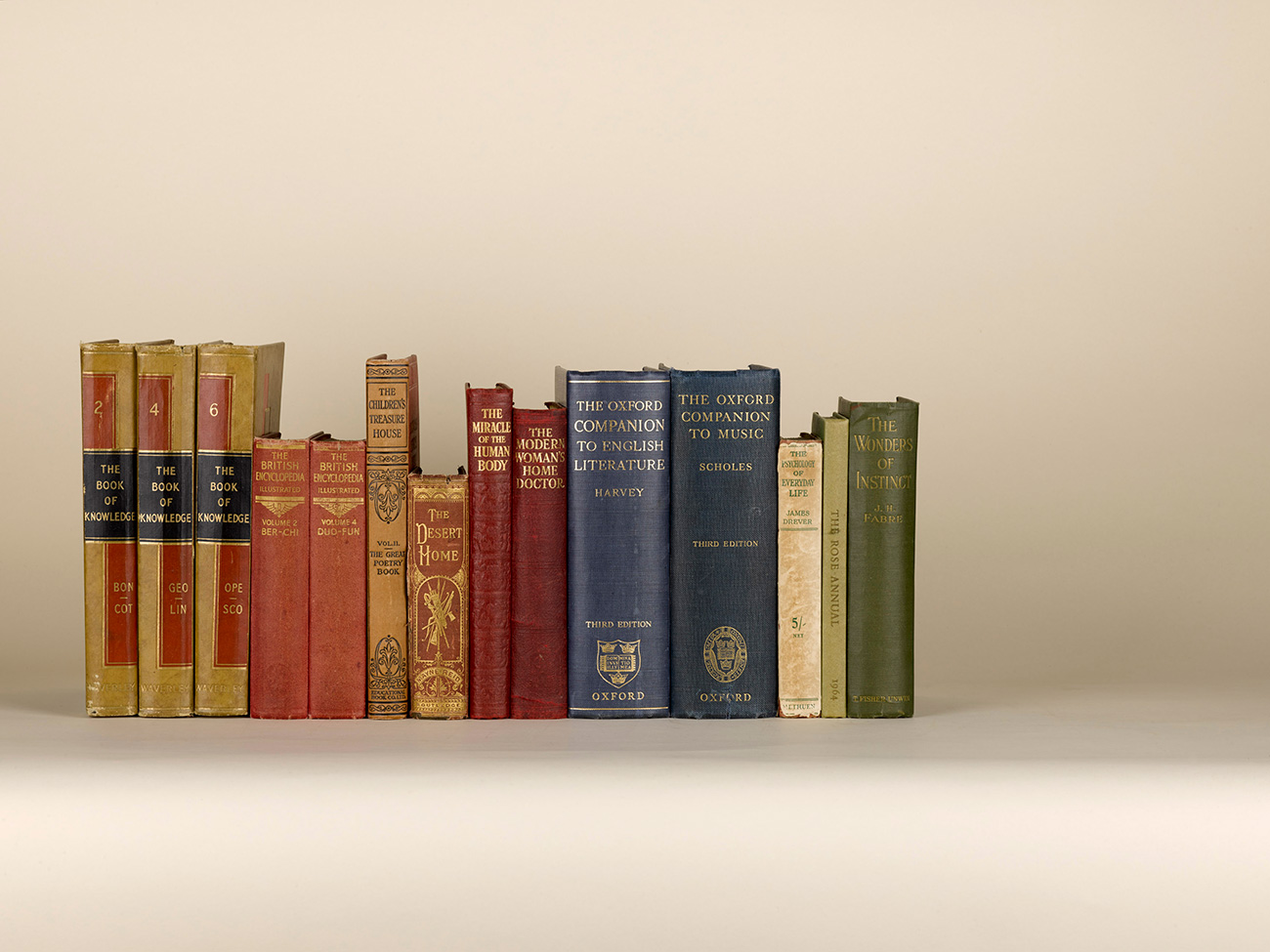 View of the spines of 14 hardback reference books, some aged or in lightly tattered condition