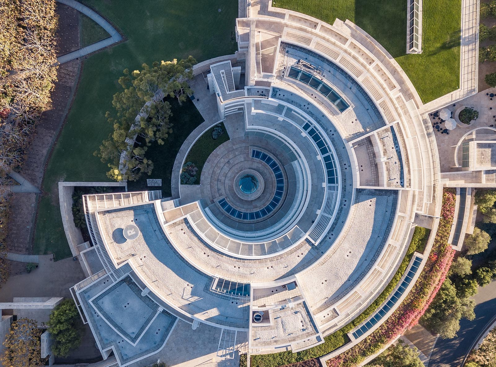Overhead view of the Getty Research Institute showing the circular shape and many components of the building.