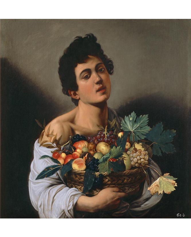 <em/>Boy with a Basket of Fruit, about 1593–94, Caravaggio. Oil on canvas.