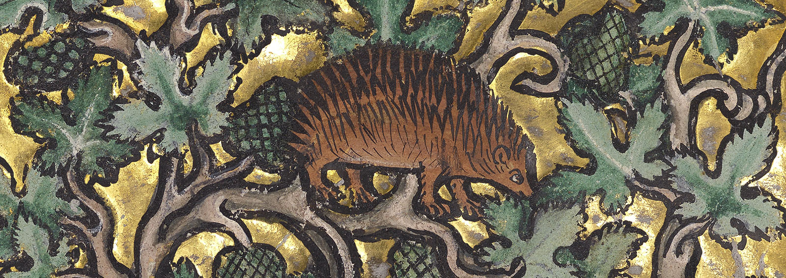 The profile of a single four-legged, brown creature facing right with several rows of spines is in the middle of a composition of brown vines, green leaves, and green pine cones.