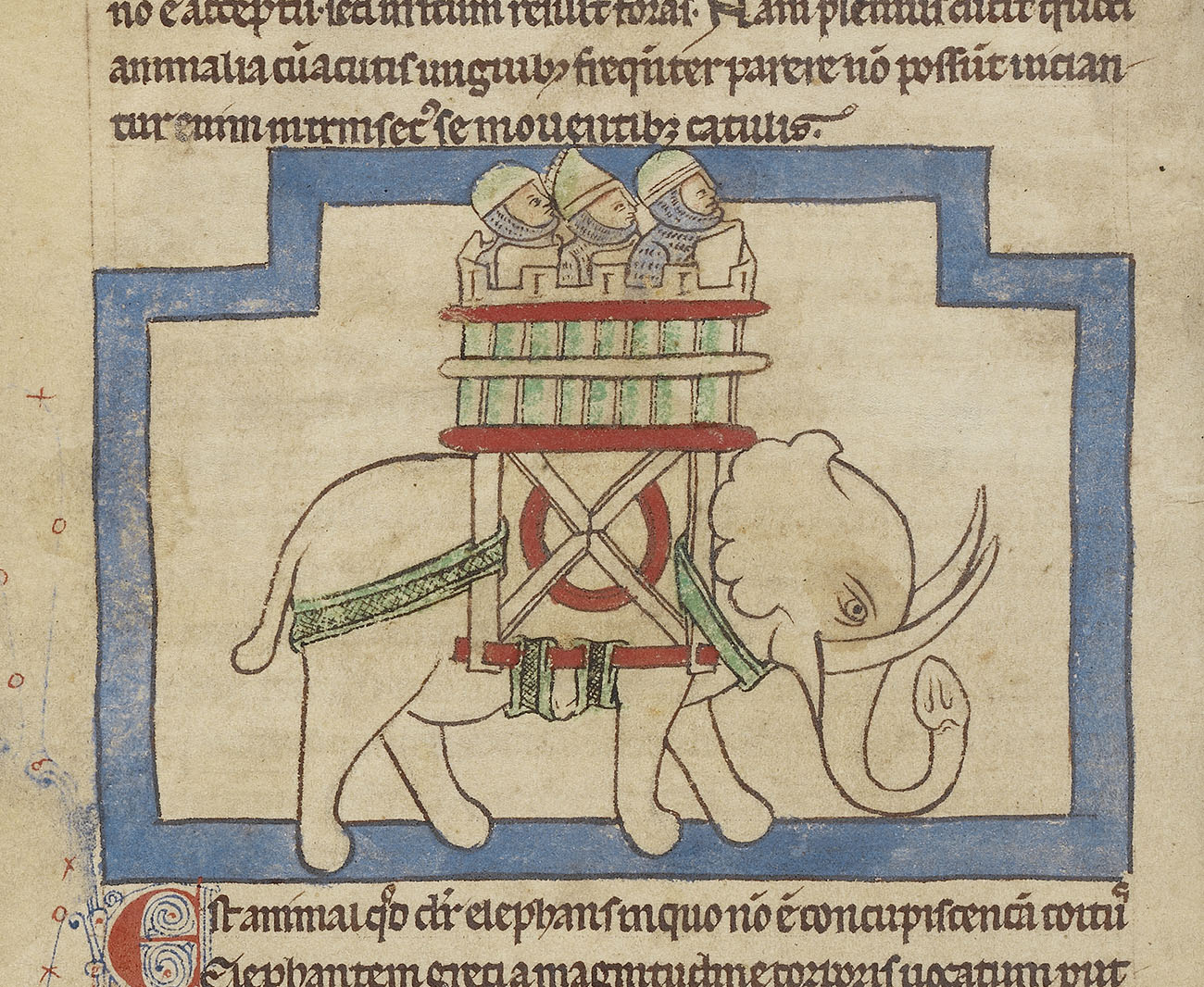 An illuminated manuscript page depicting an elephant with curled tusks and a long trunk carrying a tower containing three people on its back.