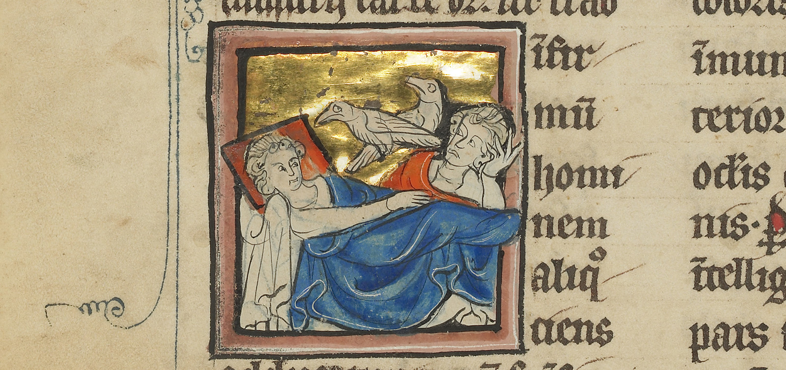 A miniature that combines both versions of the caladrius story into one scene: a caladrius looks towards one patient, healing him, while another caladrius turns his head away from a distraught patient about to die.