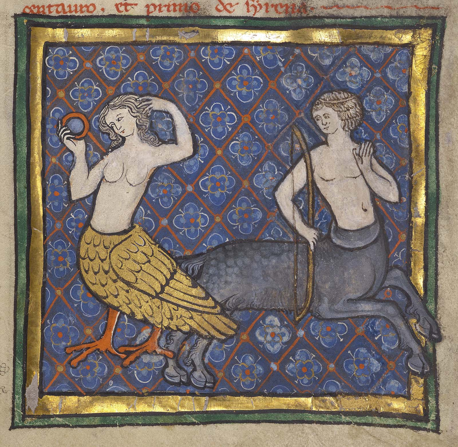 A part-bird, part-woman siren plays with her hair as she looks into a mirror. A centaur holding a bow gazes at her.