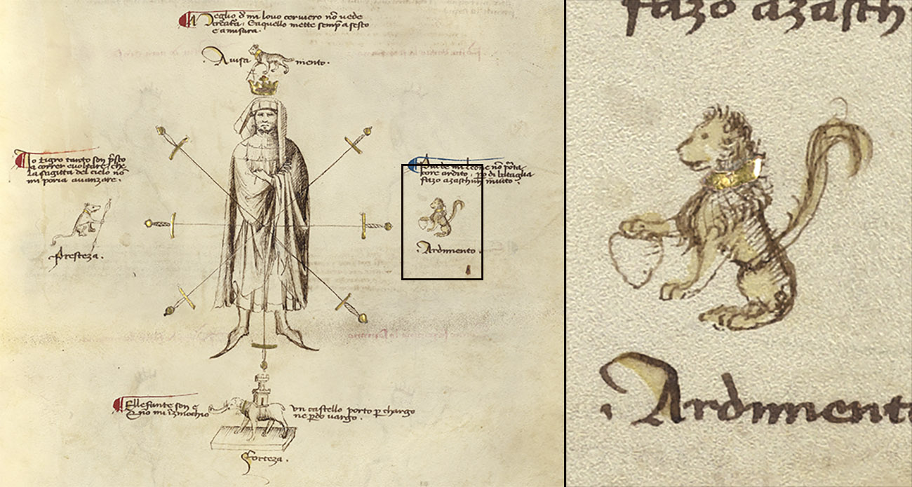 A manuscript detailing combat training instructs the reader to mirror in his heart the courage of the lion. A small illustration of the lion appears on the left breast on the pictured soldier.