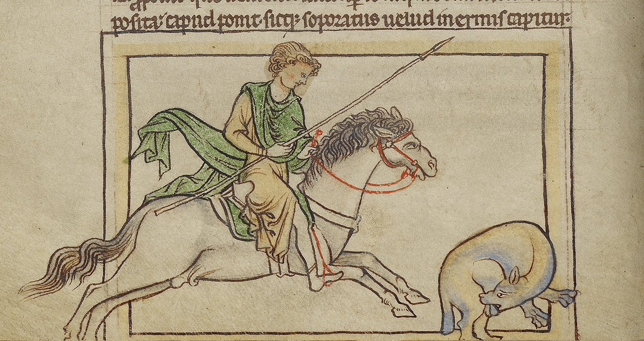 On the left, a hunter holding a spear is riding a horse and chasing a blue beaver that is in the act of biting off its testicles.
