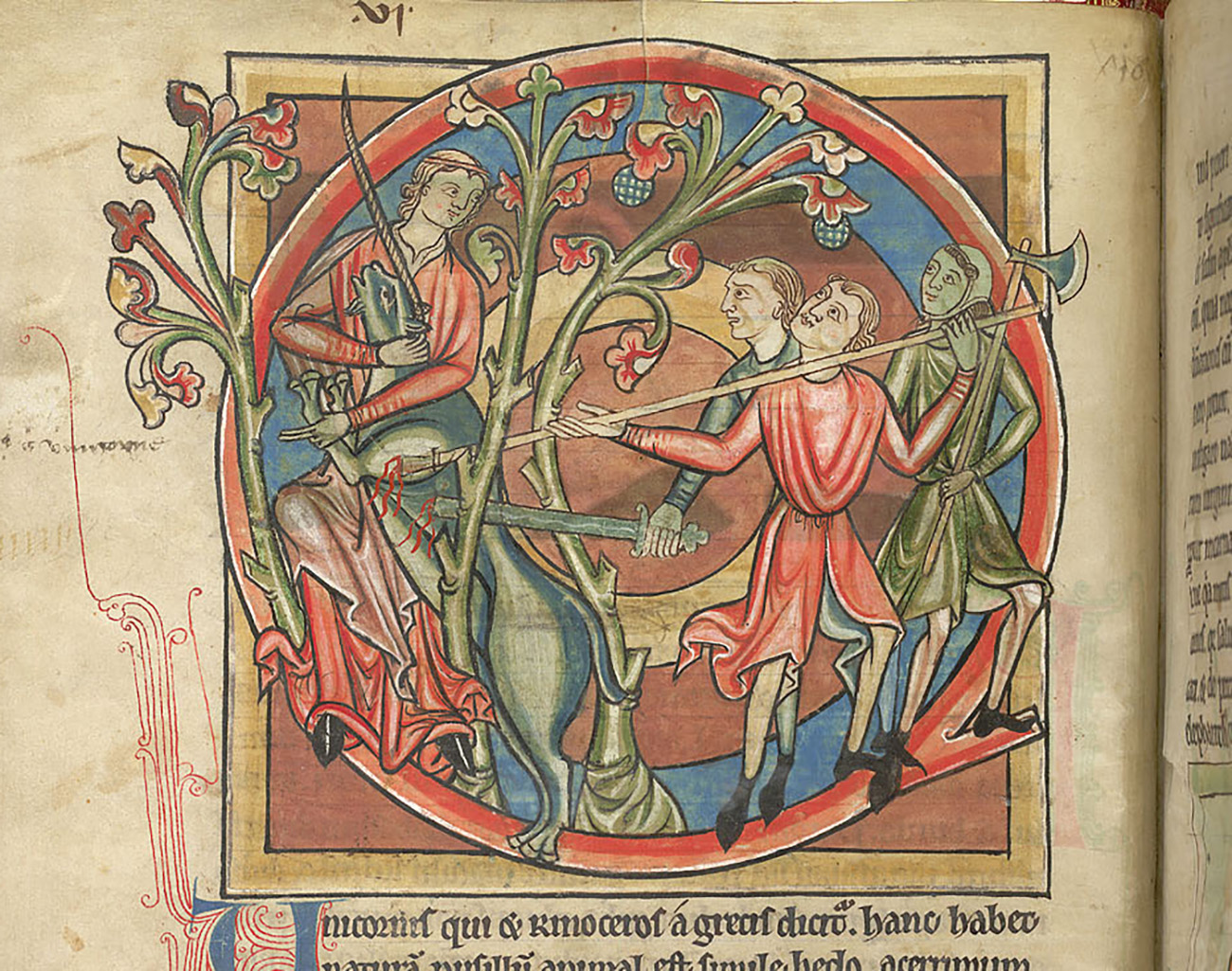 Three hunters are seen spearing a unicorn, as a maiden embraces it and looks at them.