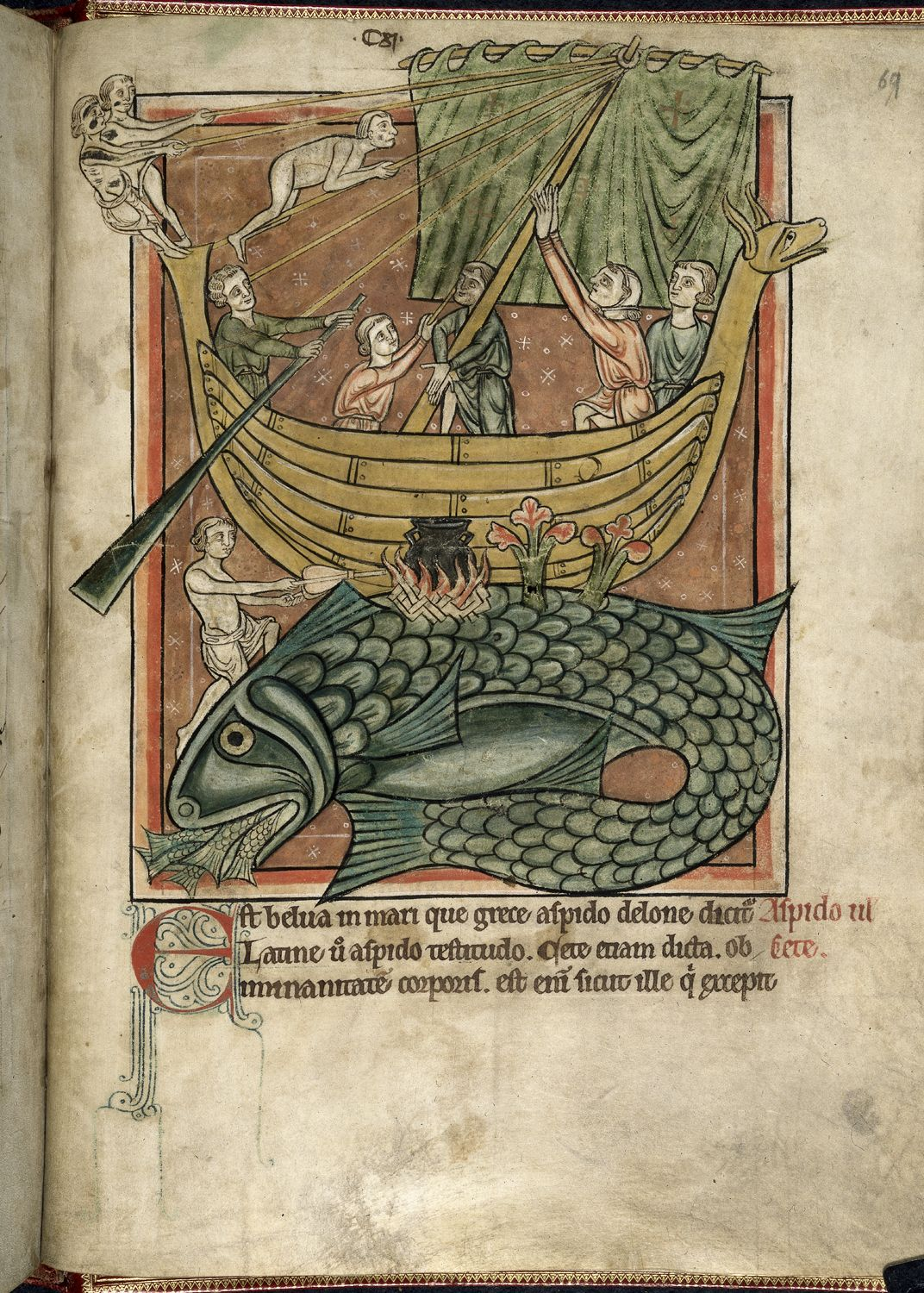 A fish-shaped whale is curled at the bottom of the frame. On its back rests a wooden ship filled with sailors, one of whom stokes a fire. Several blue fish enter the whale's open mouth, their faces concealed.