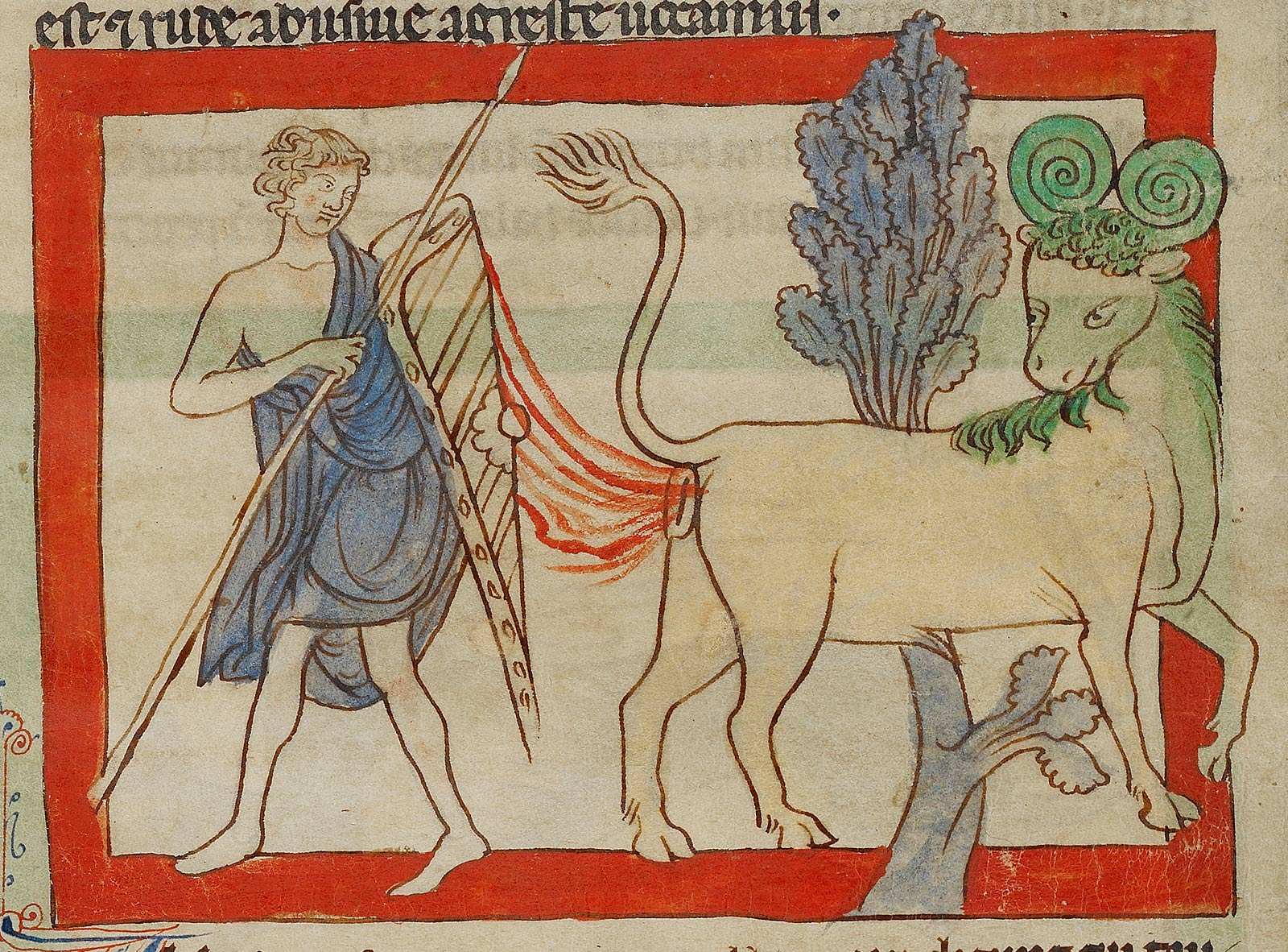 Illustration of a man with a staff holding up a shield to protect himself from a stream of dung shooting from the back of a grinning beast with curled horns