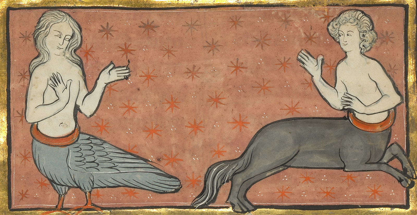 Against a coral background with orange stars, a siren with long pale hair, gray feathers, and orange legs gestures at a centaur with a gray body.