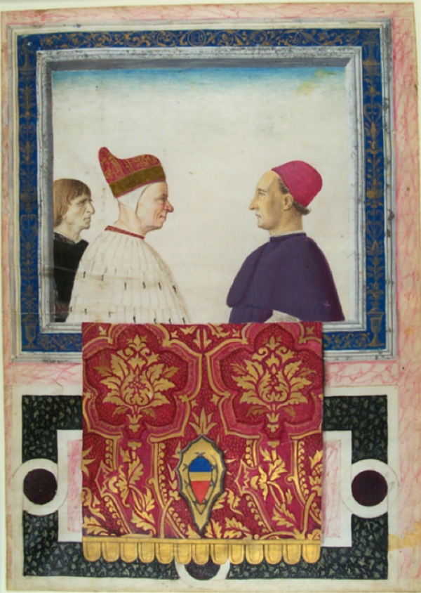 On the left, a man wearing an ornate red cap and a white robe faces a man wearing a pink cab and purple robes. Partly visible behind the man wearing the red cap is another man with light brown hair and wearing black. A red and gold textile hangs from the decorative blue frame that encloses the figures.