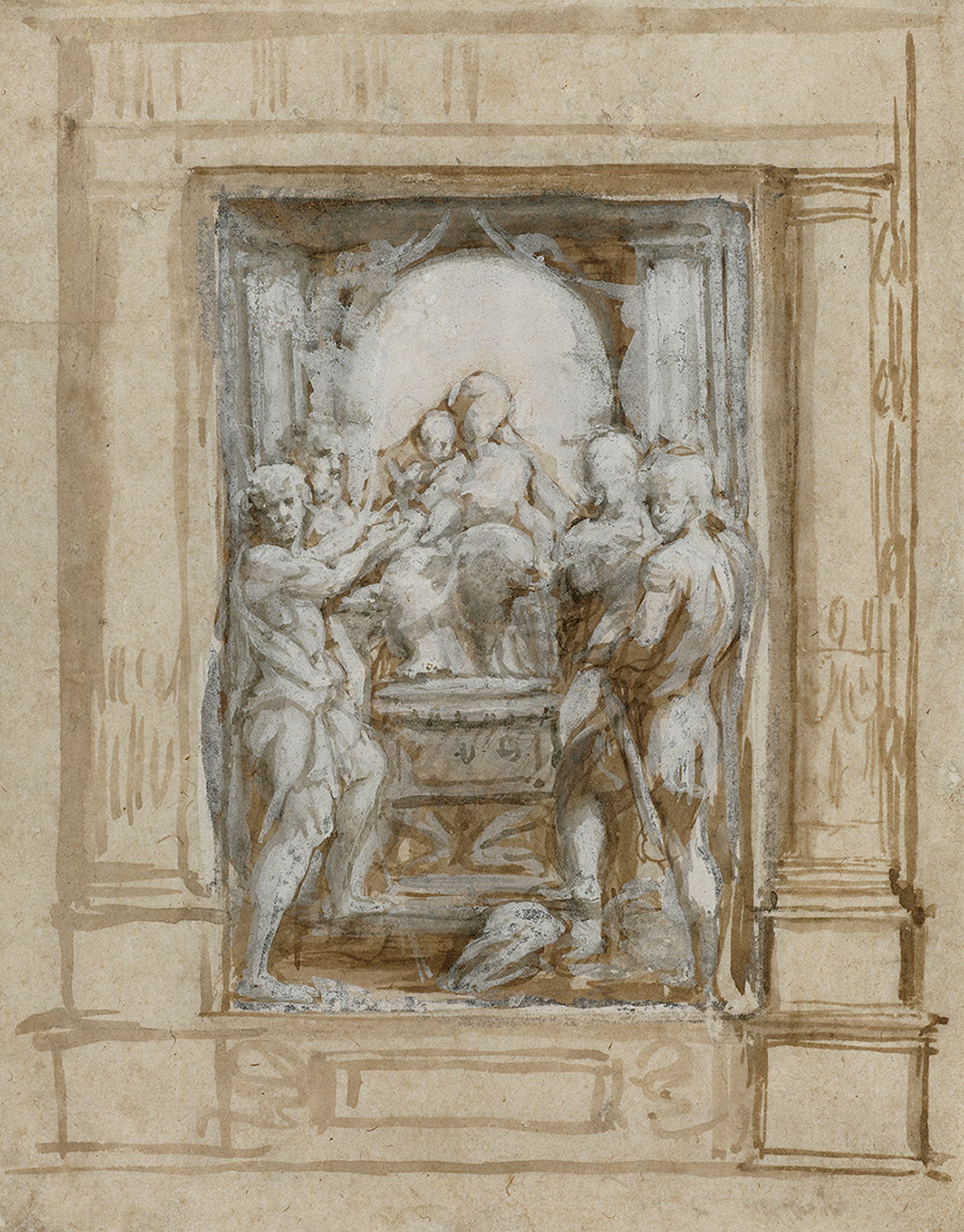 Sketch of a rectangular niche framed by pillars and holding sculpture of the Madonna and child seated on a throne surrounded by four figures, the front two of which are male.