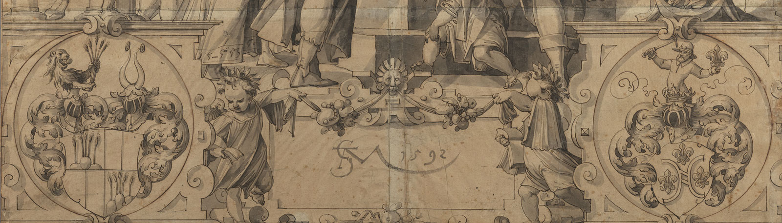 Detail of a sketch showing crests a signature and cherubs.