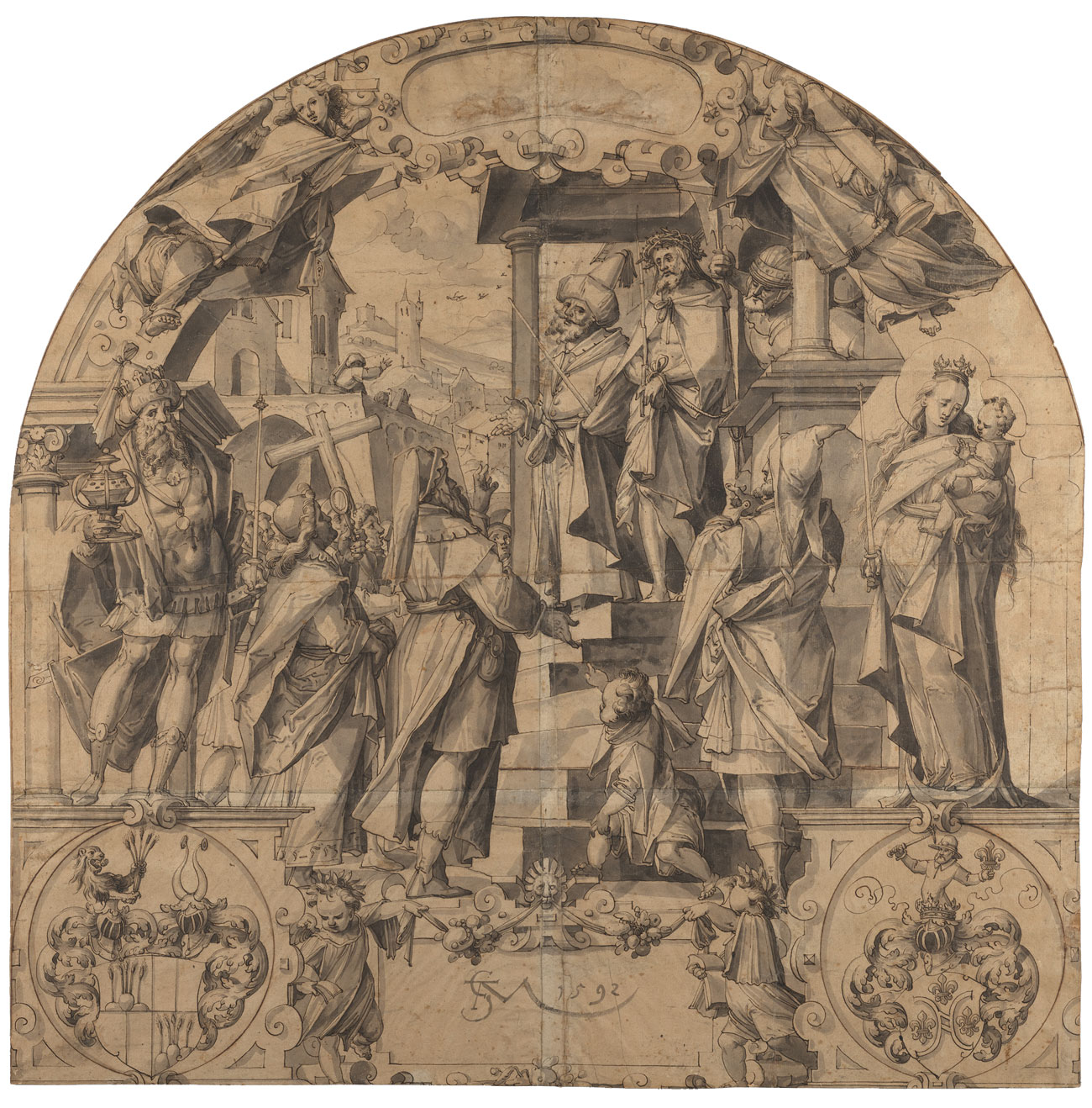 A complete view of a sketch of the judgement of Christ, a detailed scene with a crowd framed by a stone arch carved with sculpted figures and crests, with angels above.
