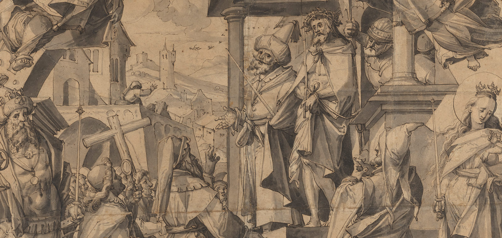 Detail of a sketch of a busy tumultuous scene with Christ at the center, a man next to him speaking to a crowd with castles in the background and a crying Mary with child to the right.