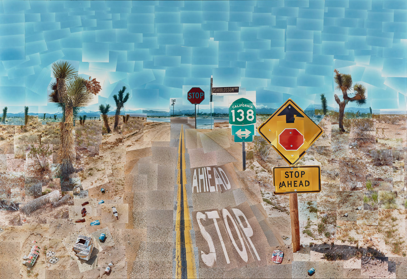 A scene of a highway in the dessert with Joshua trees, litter and street signs. The image is composed of a collage of many smaller photos that don't fit together seamlessly.