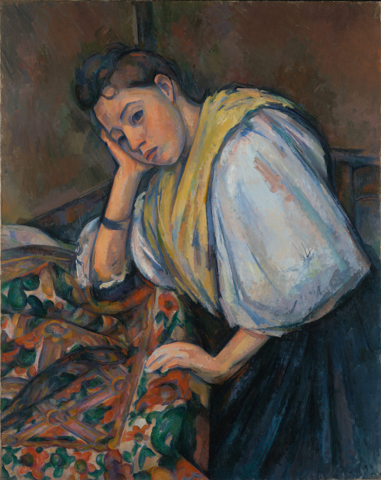 A painting in bright colors and broad strokes of a woman slumped, over table covered with floral fabric, looking thoughtfully into the distance.
