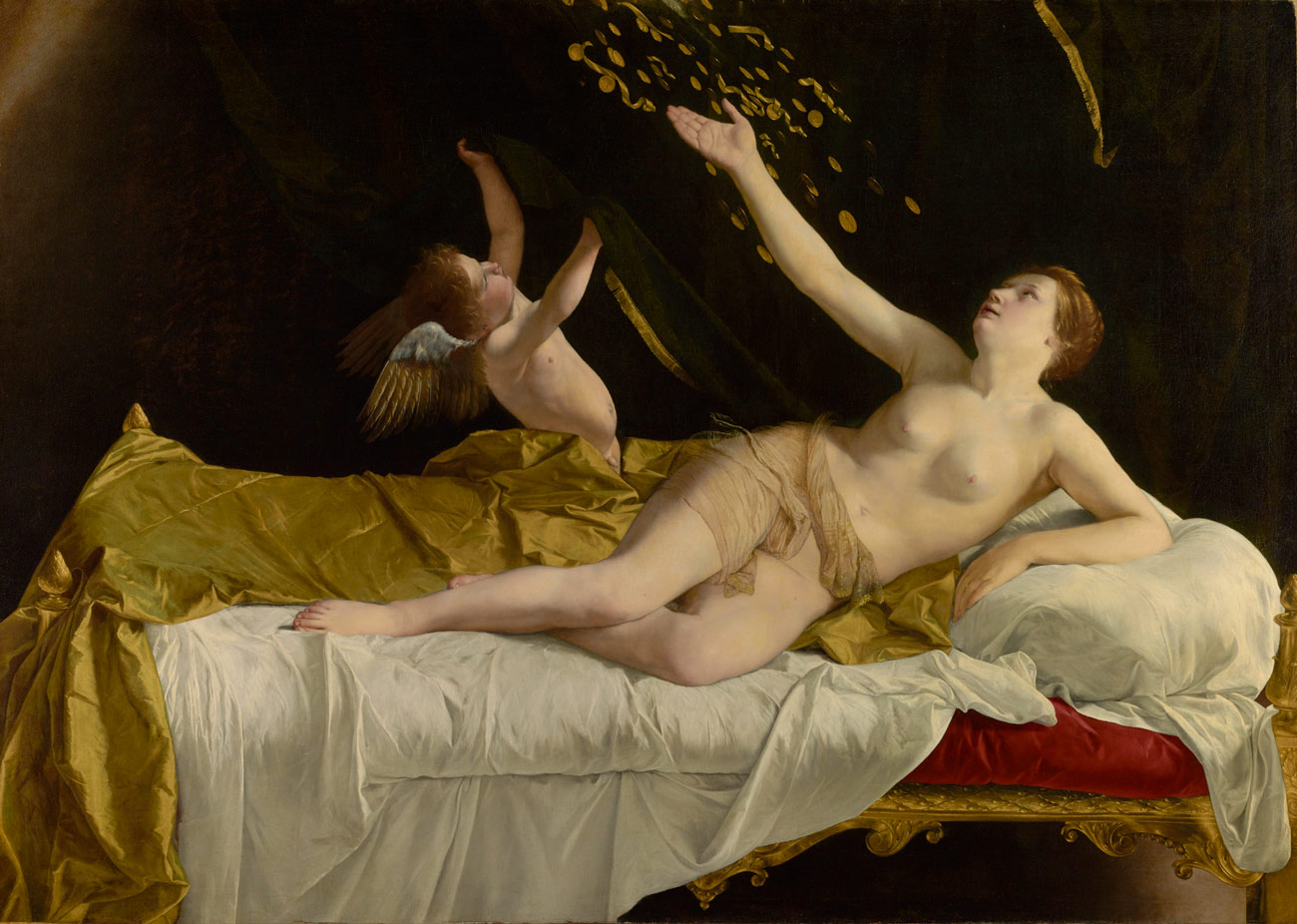 Painting of a nude woman with Cupid on a bed reaching their arms up as gold coins and ribbons fall down upon them.