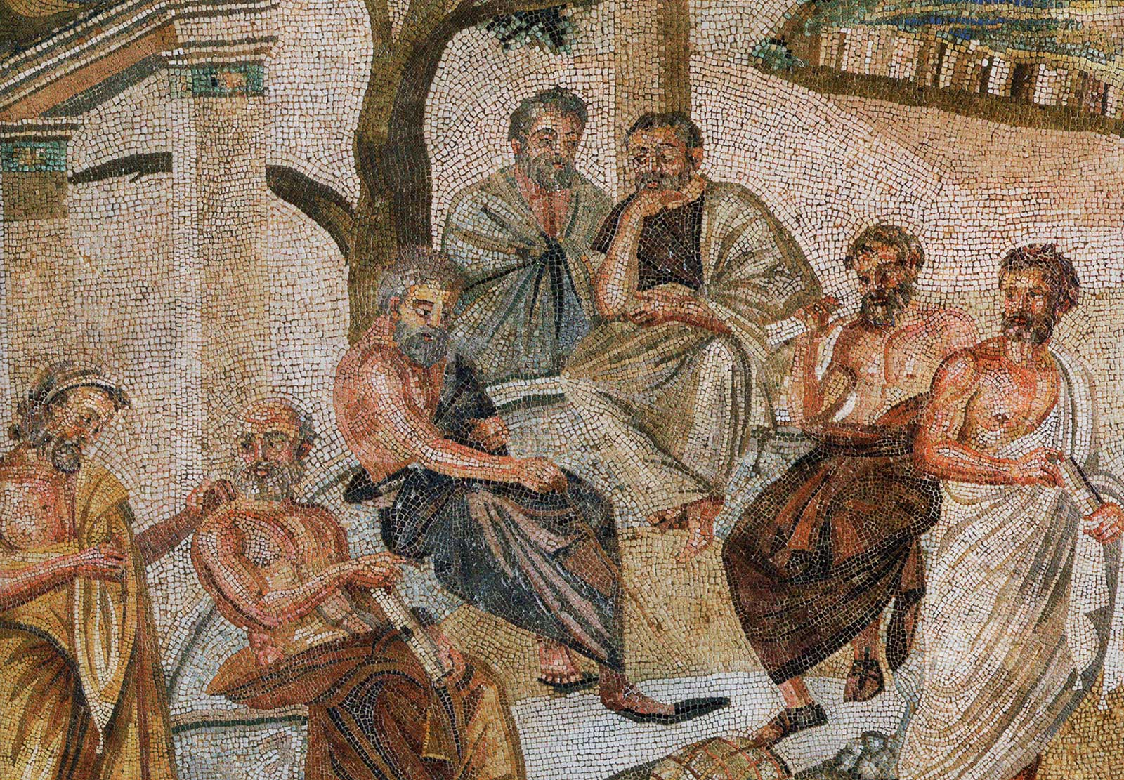 Plato holds forth, surrounded by four male student philosophers, under the shade of trees