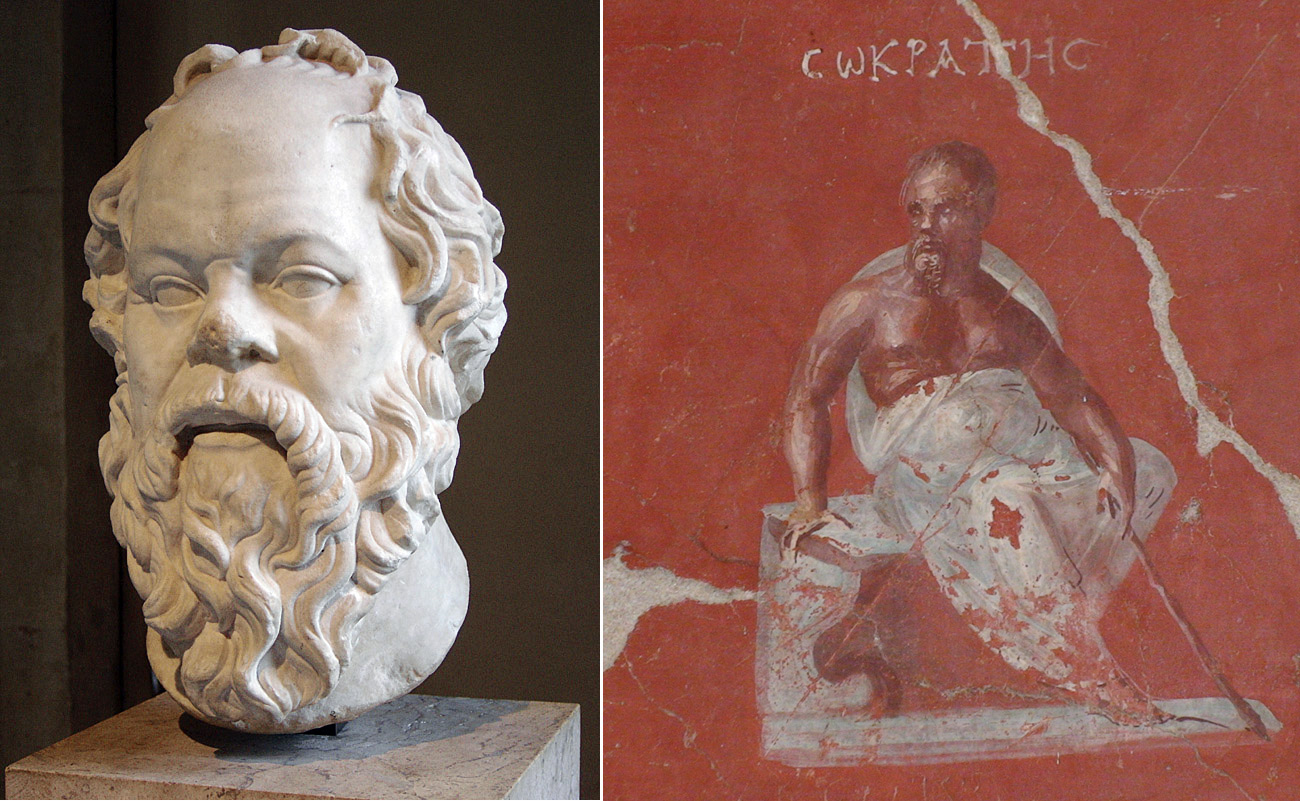 Side-by-side portraits of Socrates showing him as middle aged and balding. At left, a marble bust of his head; at right, a wall painting showing him seated and gazing off incisively to the left