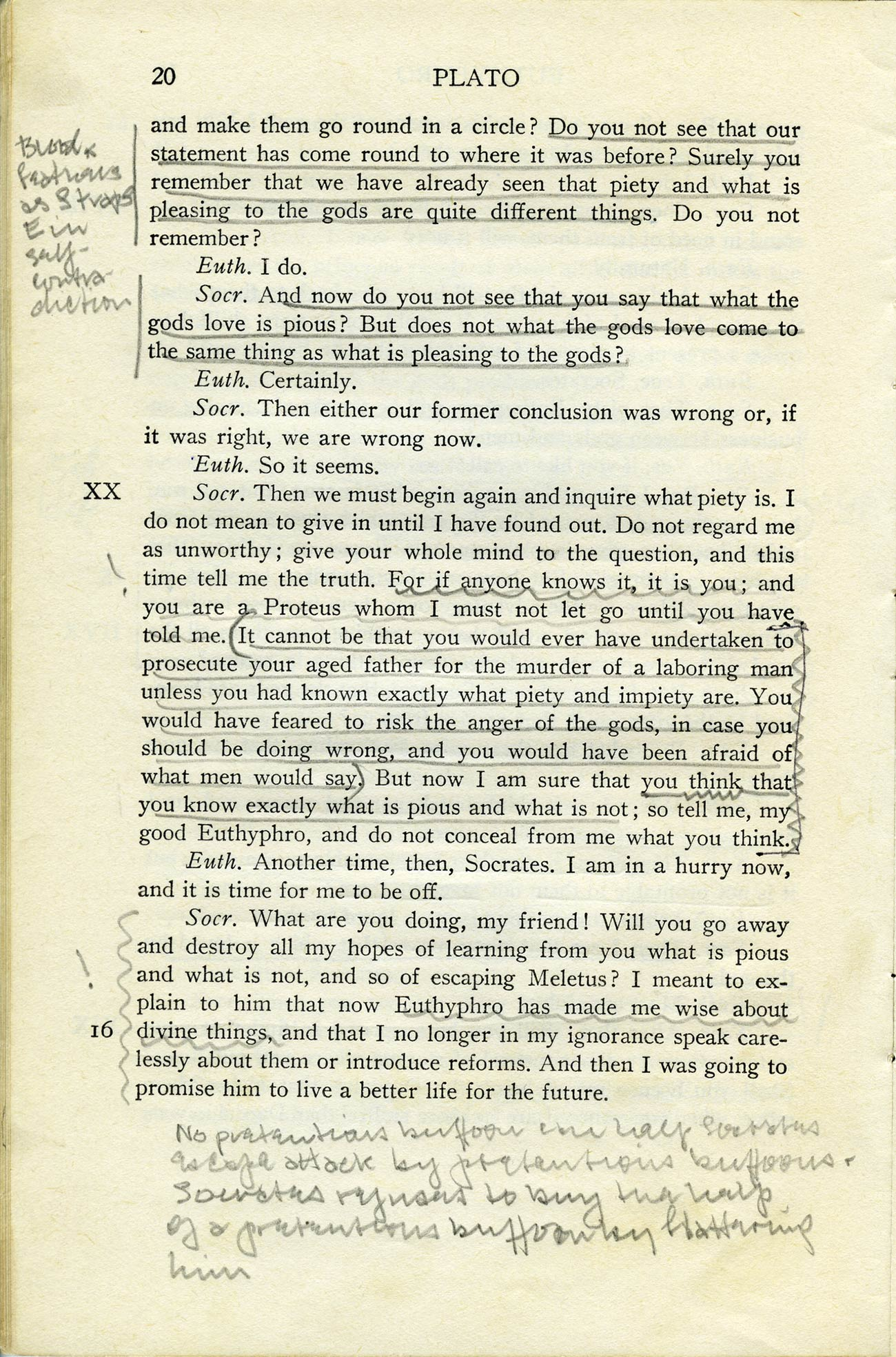 A printed page from a Plato text, with underlining and marginal notes made in pencil