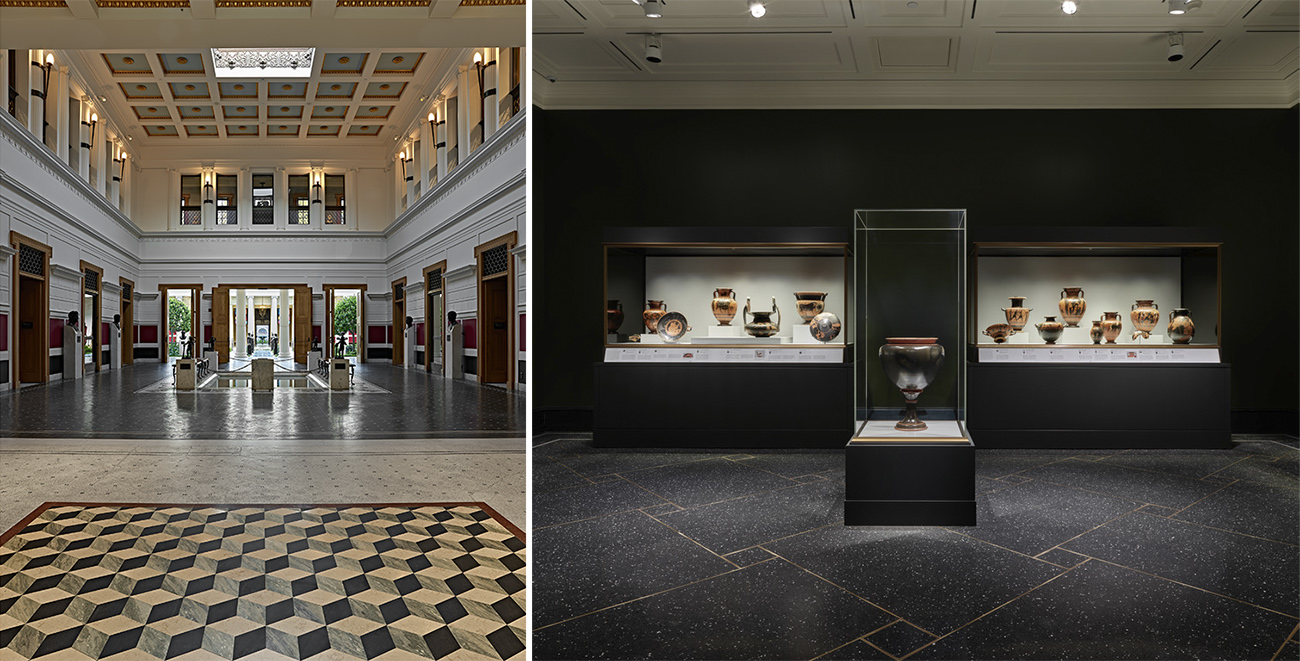 Left: The Villa's Atrium has a blue and gold coffered ceiling, beige and white paneled walls, warm brown wooden molding around the doors that open to the outside, benches next to a small, shallow, rectangular pool, and a mosaic floor in gray, white, beige, and beige in various geometric patterns. Right: The new Greek Vases gallery has dark gray walls, a dark stone floor patterned with large and small squares, and three vitrines, two of which display several examples of Greek vases, and one at the center that displays a large black vase with a red lip.