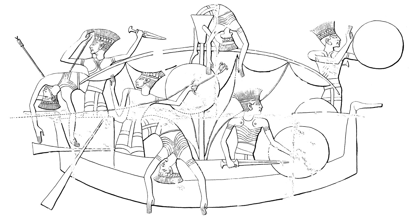 A line drawing of ancient Egyptians in a boat. Soldiers hold weapons and shields, some dead or injured.