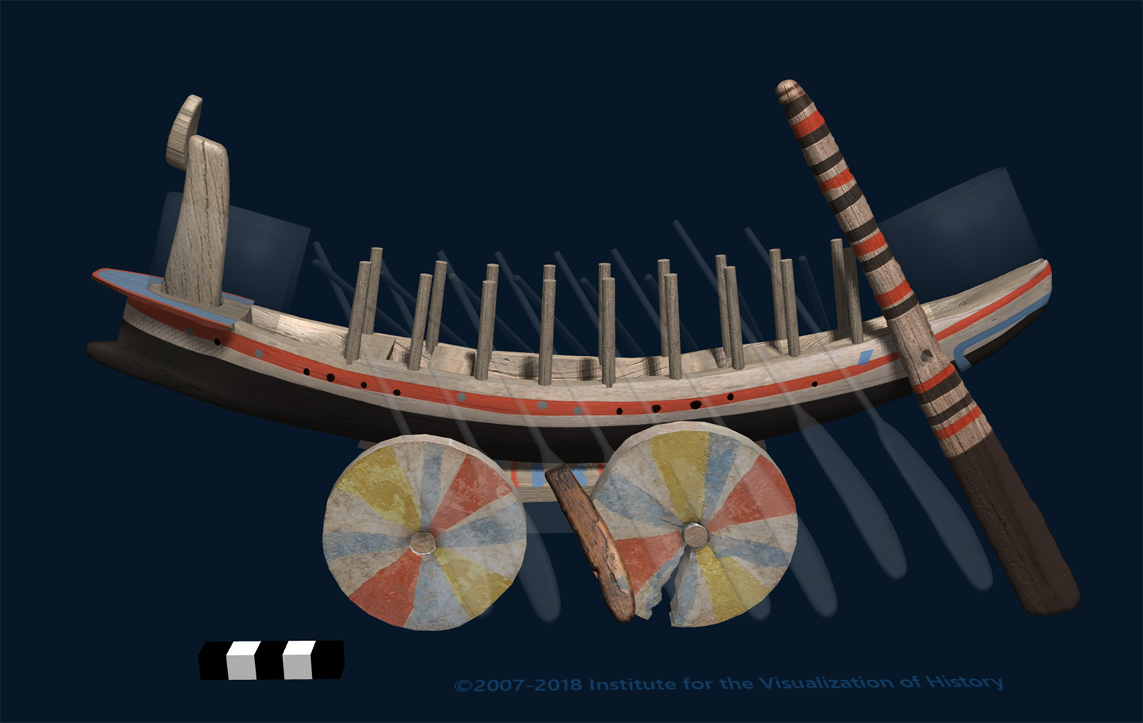 A 3-D computer model of the wooden boat shown above.