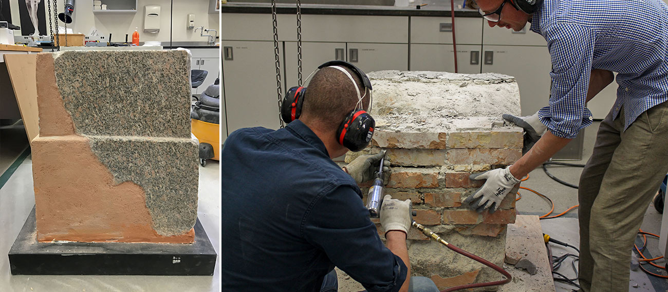 Left, Two large stone blocks on a base with orange fill on the bottom left third. Right, two men in eye and ear protection use a drill on a brick structure about 3 by 3 feet.