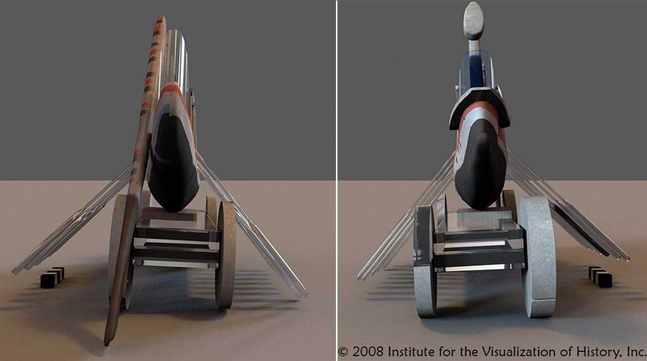 Two-panel photograph of a 3D reconstruction of an ancient ship-cart, showing its wheels askew