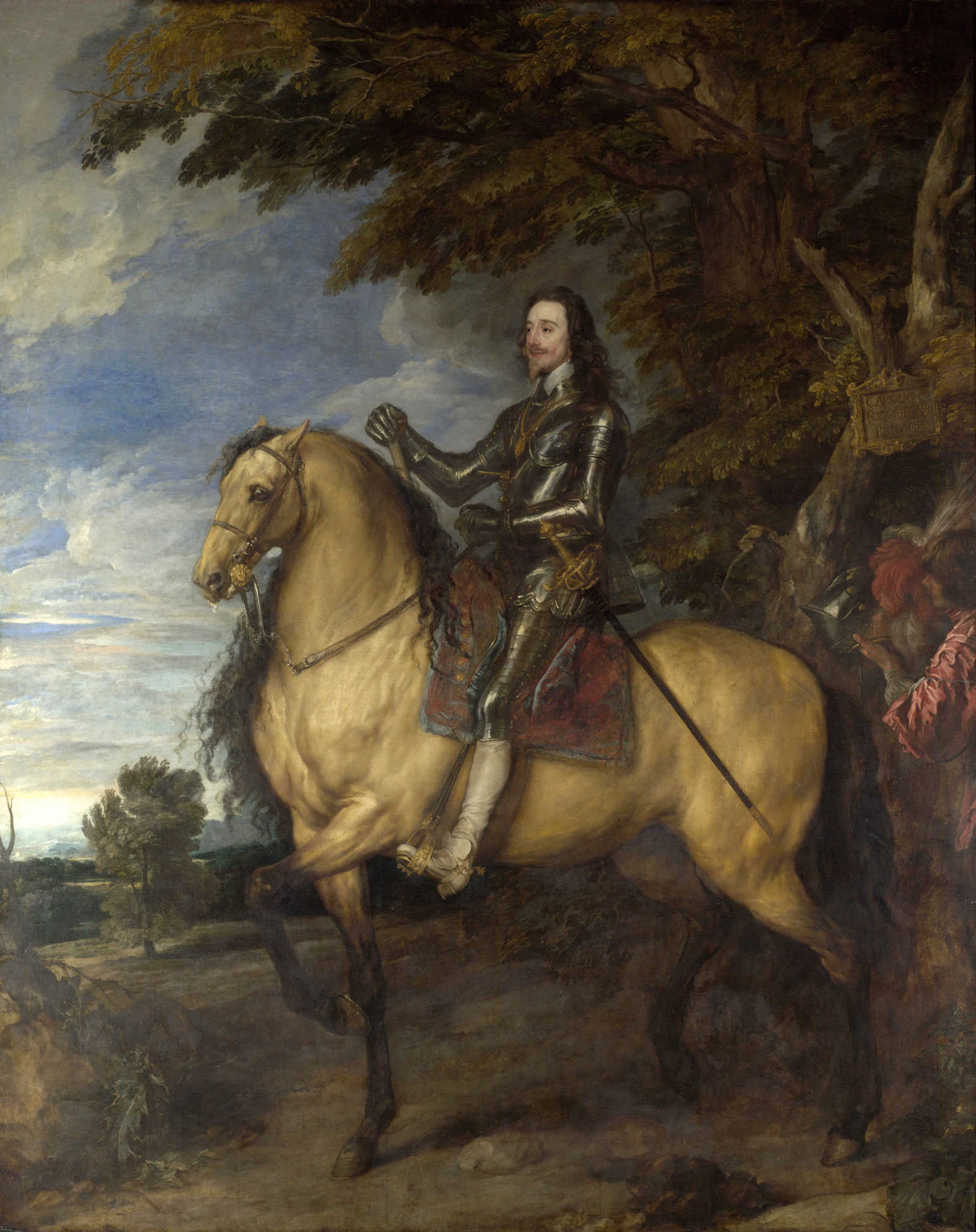 A painting of a man with a mustache, beard, and long brown hair wears armor and sits on a large blonde horse against a background of trees and blue sky.