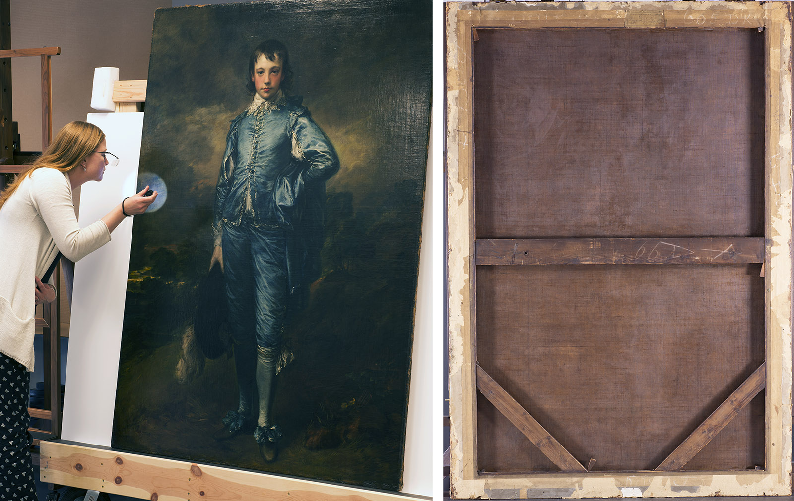 On the left a woman wearing magnifying glasses and holding a flashlight examines the surface of a painting of a boy dressed in a luxurious blue suit. On the right is the brown backside of the canvas and its scratched wooden frame.