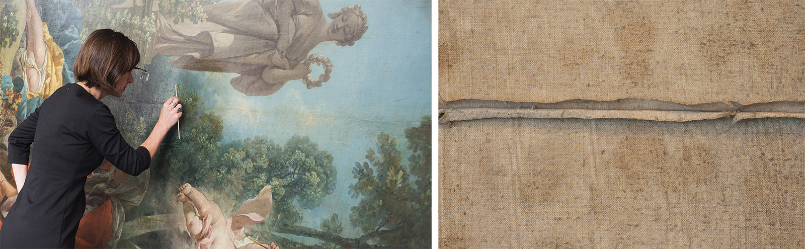 At left, a female conservator wearing magnifying glasses works on a large, colorful painting that is turned on its side. At right is a close-up of a seam on the back of the canvas.