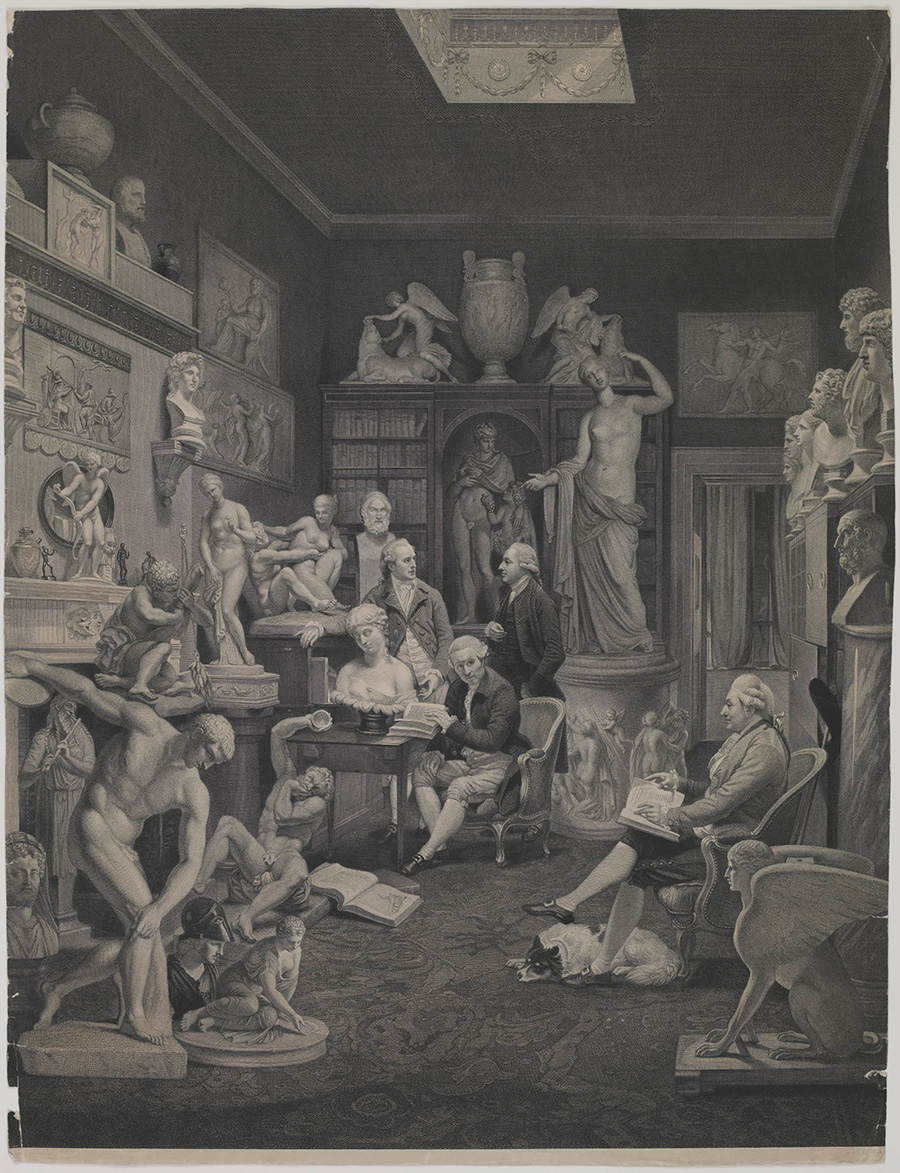 A black and white print of Zoffany's original painting, which shows four wealthy white men wearing white wigs and suits in a large room crowded with ancient marble sculpture on the floor and walls.