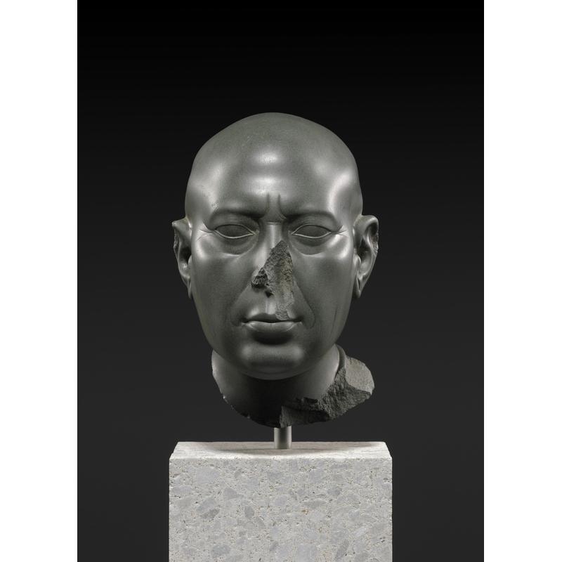 The Berlin Green Head, about 400–300 B.C., Egyptian or Ptolemaic. Greywacke, 9 1/16 × 5 1/2 × 7 7/8 in. Staatliche Museen zu Berlin, Ägyptisches Museum und Papyrussammlung. Photo: bpk Bildagentur / Ägyptisches Museum und Papyrussammlung, Staatliche Museen zu Berlin - Preußischer Kulturbesitz / Sandra Steiss / Art Resource, NY