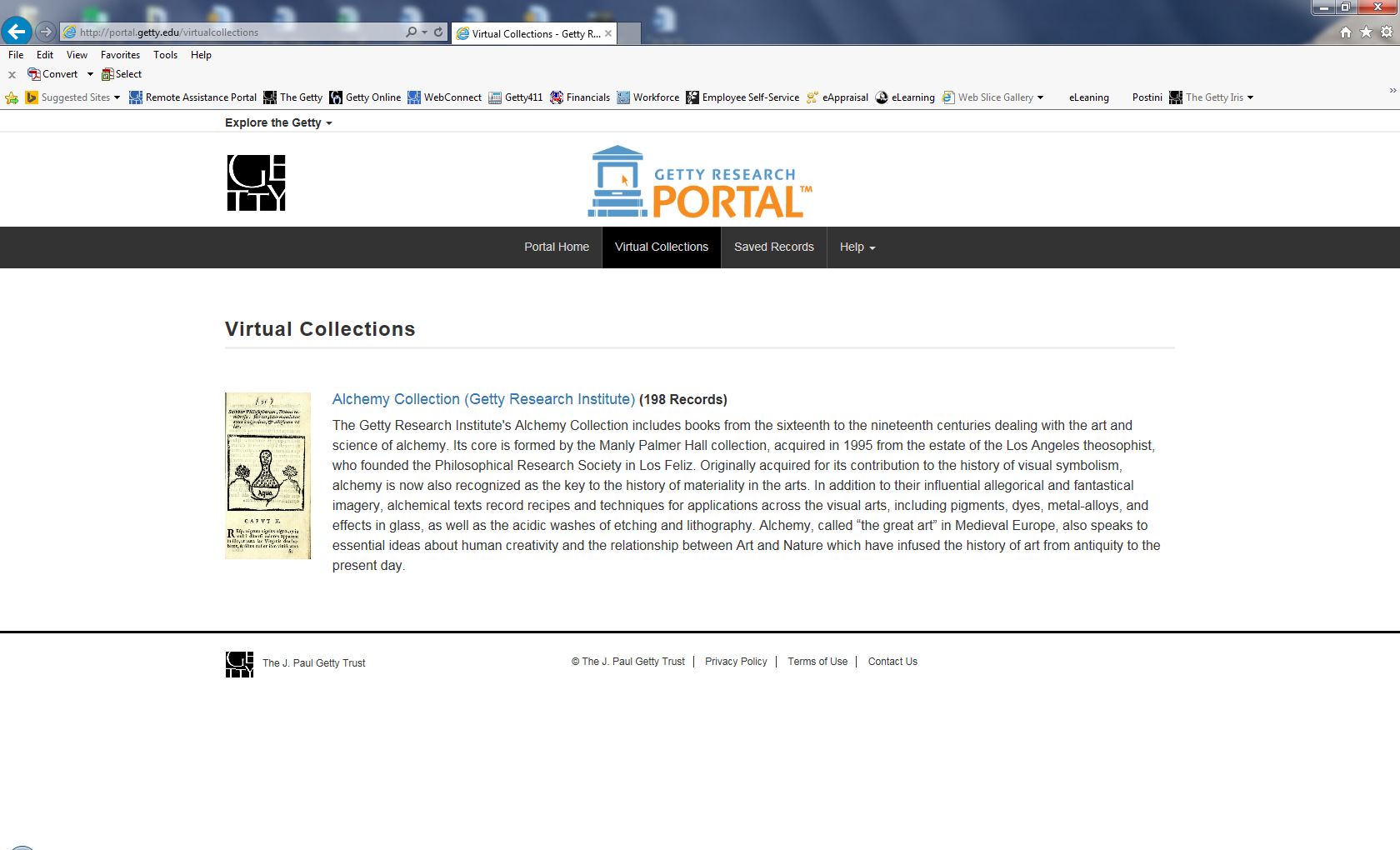 View of a web page reading Getty Research Portal, Virtual Collections, Alchemy Collection